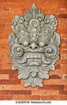 Stone bas-relief on the brick wall. Buddhist Symbols, Buddhist Art, Fu Dog, Pop Art Wallpaper, Indonesian Art, Asian Tattoos, Tibetan Art, Tanjore Painting, Monuments