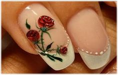 Red nail designs pictures Classy French nail design photos with red flowers decoration Nail Art Designs, Nail Designs Pictures, Flower Nail Designs, French Nail Designs, Nails Design, Rose Nail Art, Flower Nail Art, Bride Nails, Wedding Nails