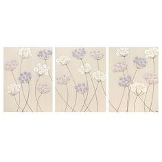 Baby Girl Nursery Flower Paintings - Large Pink and Purple Wall Art Triptych - 50X20 Canvas - MADE TO ORDER on Etsy, $183.10 CAD