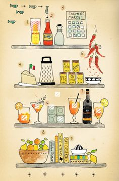 What's On Hand :: Courtney McBroom.  Want to try Kewpie Mayonaise and Amaro.  And, of course, love the illustration!