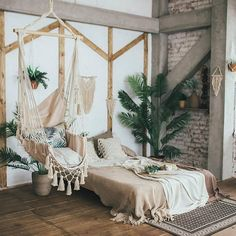 Rocking-chair with macrame hanging chair rocking-chair Bohemian Bedroom Boho chair Hammock hanging macrame Rockingchair Universal Bohemian Bedroom Decor, Boho Room, Cozy Bedroom, Modern Bedroom, Bedroom Ideas, Contemporary Bedroom, Bedroom Designs, Bedroom Brown, Bohemian Apartment Decor