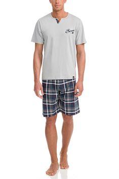 Vamp Ανδρική Νεανική Πυτζάμα Καρό Light Gray – Tartora.gr Patterned Shorts, Trunks, Swimming, Grey, Swimwear, Cotton, Shopping, Style, Fashion