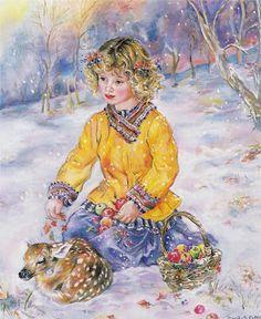 "Photo from album ""Зимняя сказка Christine Haworth"" on Yandex. Decoupage, Winter Art, Freelance Illustrator, Christmas Images, Cute Illustration, Art Pages, Vintage Children, Clipart, Cute Kids"