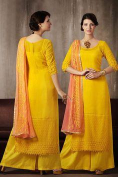 9bc375e6a6 Dazzling Long Length Palazzo Salwar Kameez Reception Suits, Palazzo Suit, Salwar  Kameez Online,