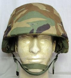 PASGT-Kevlar-Helmet-Size-LARGE-with-Woodland-Camouflage-Camo-Cover-Exc-cond