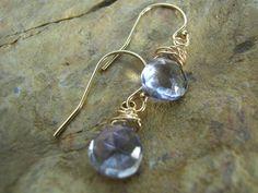 Blue Mystic Quartz Gold Earrings 14K Gold by KottageKreations, $25.00