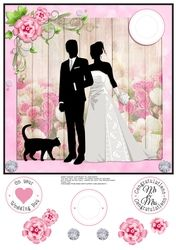 WEDDING COUPLE WITH CAT WALKING QUICK CARD