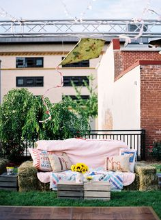 Southern Weddings - hay bale lounge