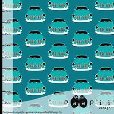 Vintage Cars petrol - PaaPii - Studio Saartje - online winkel met designer-, retro- en vintage stoffen en exclusieve patronen