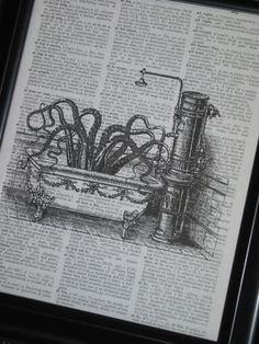 Steampunk Octopus Bathtub Bathroom Print Vintage Dictionary Book Art Page Print Octopus in Bathtub Upcycled Picture Wall. $8.00, via Etsy.