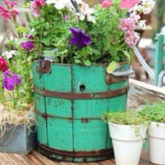 distressed planter in bright colors
