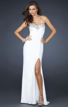 Beautiful Long White Tailor Made Evening Prom Dress (LFNAF0008) in marieprom.co.uk