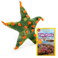 WHAT'S INCLUDED:  Includes 1 high-quality plush Green Starfish toy (9 inches) and 1 National Geographic Kids Readers: Tide Pools (L1).  	 PLUSH DIMENSIONS: Measuring at 9 Inches, our adorable Green Starfish stuffed animals are comfortable and soft to the touch! The perfect size for at home and take on the go play! This plush Starfish is huggable, hand-washable, soft, shed-free and made from high quality acrylic, polyester and stitching to ensure added safety!  	 ABOUT NATIONAL GEOGRAPHIC…