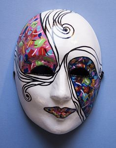 White black masquerade mask rainbow accents. by TightropeToTheMoon, $128.00