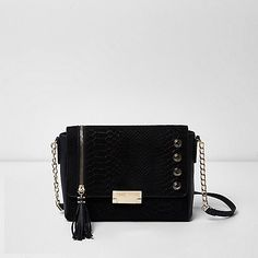 462ee2ad3e Black chain foldover stud shoulder bag