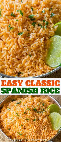 Easy Spanish Rice also called Mexican Rice that tastes just like your favorite restaurant side dish with with an easy trick for perfectly fluffy rice spanishrice mexicanrice mexicanfood mexicanrecipes dinnerthendessert sidedish rice easyrecipes Taco Side Dishes, Mexican Side Dishes, Mexican Rice Recipes, Rice Recipes For Dinner, Side Dish Recipes, Food Dishes, Spanish Rice Recipes, Easy Mexican Rice, Spanish Side Dishes