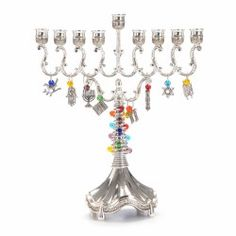 Beaded Menorah With Judaica Charms - Traditions Jewish Gifts Menorah Candles, Candle Lamp, Hanukkah