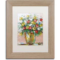 Trademark Fine Art Spring Flowers in a Vase 6 inch Canvas Art by Hai Odelia, White Matte, Birch Frame, Size: 16 x 20, Multicolor