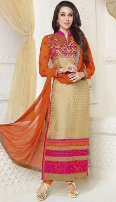 USD 44.98 Karisma Kapoor Beige Georgette Bollywood Salwar Kameez 44159