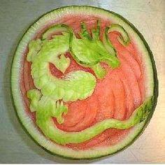 ❀⊱╮Watermelon Carving / Food Art / Fruit Art / food carving / dragon...