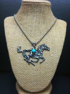 Hand-Stamped Running Horse Necklace