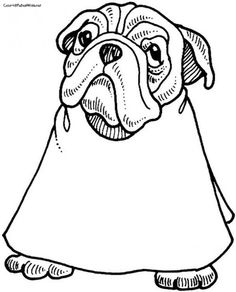 Funny Bulldog Going To Barber Coloring Page
