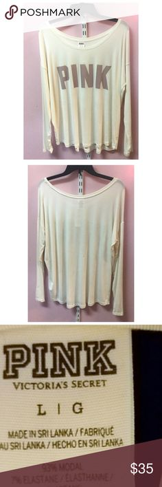 Victorias Secret Pink Top Cream in color- Worn Once- Excellent Condition PINK Victoria's Secret Tops Tees - Long Sleeve