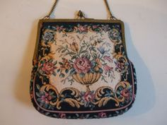 Vintage Tapestry Bag with Gold Tone Chain, Lined, Made in England. on Etsy, $24.14