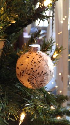 Sheet Music Ball Ornament  Vintage Sheet Music by ThePianoGalShop