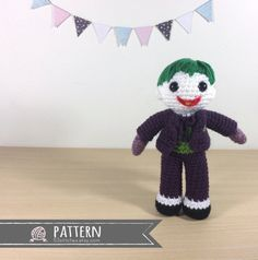 Joker Amigurumi Crochet Doll Pattern by 53Stitches on Etsy- not the best and costs $6 but patterns are hard to find.