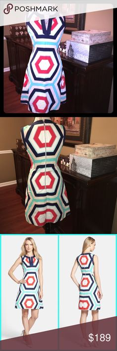 Kate Spade Geometric Dress, Size 6 (fits a 4) Kate Spade Geometric Zuma Dress, Size 6  Excellent like-new condition!!! Fun colors and would be great for fall with a blazer or sweater. This dress does run small, more like a size 4. It's a cotton/linen blend and measures 36.75 inches from shoulder to hem. kate spade Dresses Midi