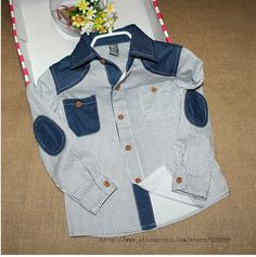 Inspiratie Y038 Brand Za Fashion Boy Shirt Striped Blouses Kids Blouse Shirt For Boy Partchwork Denim Shirt Children's Clothes Lot