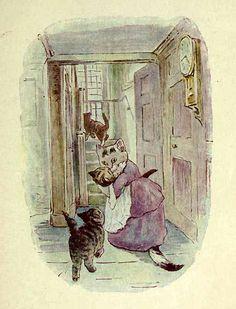 """"""" Un jour, leur mère, Madame Tabitha Tchutchut, avait invité des amies à prendre le thé. Elle alla chercher ses trois chatons pour les laver et les habiller avant que ses hôtes n'arrivent. """" ~ The Tale of Tom Kitten"""