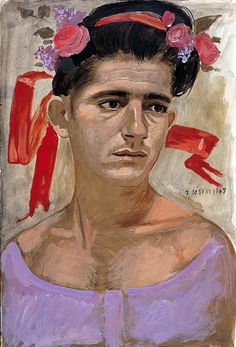 Study for May - Yannis Tsarouchis Greece Painting, Greek Art, Art Database, Caravaggio, Naive Art, Gay Art, Modigliani, Art Images, Flower Art