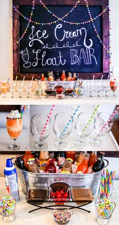 Ice Cream Float Bar- a fun and delicious bar for any kids OR adult party. Protein Shakes, 13th Birthday Parties, Birthday Ideas, 16th Birthday, Teen Birthday, 16 Bars, Sundae Bar, Ice Cream Floats, Sleepover Party