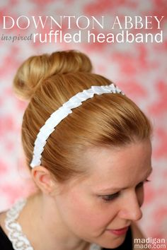 How to Make a Simple, Pleated Headband inspired by Downton Abbey maids - tutorial at madiganmade.com