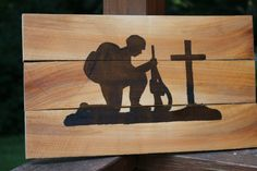 soldier silhouette, pallet sign, repurposed wood, wooden signs, recycled wood sign by TNTWoodWorkshop on Etsy