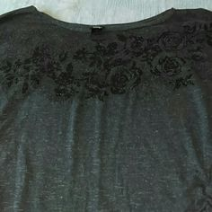 Vanity oversized top size L Super cute grey top with black glitter rose design. Gathered at sides makes it very flattering. Vanity Tops Blouses