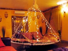 Beautiful round bed with lights <3