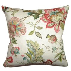 Bring in a touch of floral elegance to any lounging area in your home, with this 18-inch decorative pillow. The multicolored floral design features an embroidery pattern to add distinct texture to your sofa or bed.