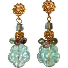 Green Fluorite Flower Drop Earrings from carolbarrettjewelry on Ruby Lane