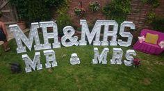 Mr & Mrs Large Light Up Letters for Wedding Celebrations.