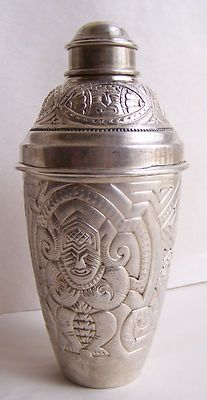 VTG 900 SOLID SILVER ART DECO COCKTAIL SHAKER AZTEC FIGURAL HEAVY DETAIL 412g