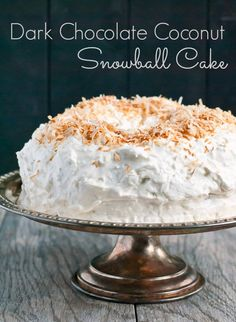 Chocolate Snowball Cake with a fluffy coconut frosting tastes like a Mounds bar in cake form!
