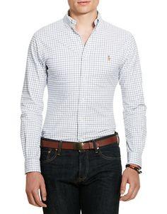 POLO RALPH LAUREN Polo Ralph LaurenSlim-Fit Tattersall Stretch-Oxford Shirt. #poloralphlauren #cloth #