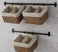 Ideas Bathroom Storage Baskets On Wall For 2019 Bathroom Wall Baskets, Bathroom Storage Over Toilet, Toilet Wall, Bathroom Storage Shelves, Baskets On Wall, Diy Storage, Kitchen Storage, Storage Shelving, Wire Baskets