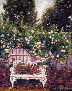 David Lloyd Glover Sumptous Cascading Roses Painting | Best Sumptous Cascading Roses Paintings For Sale