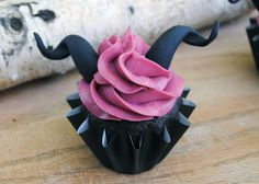 Dark Chocolate Blackberry Cupcakes *** Maleficent Cupcakes *** Get the recipe at www.sinistersweetshop.com