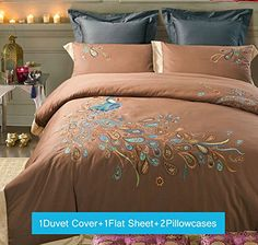Lt Queen Size 100% Cotton Embroidered/embroidery 4-pieces brown coffee Peacock Feather Prints Duvet Cover Sets(Queen,4pcs without comforter)