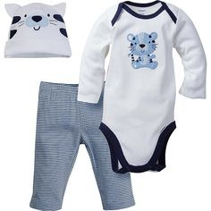 53299f205d411 3-Piece Boys White Tiger Bodysuit   Pant Set